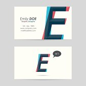 vector business card template - letter e