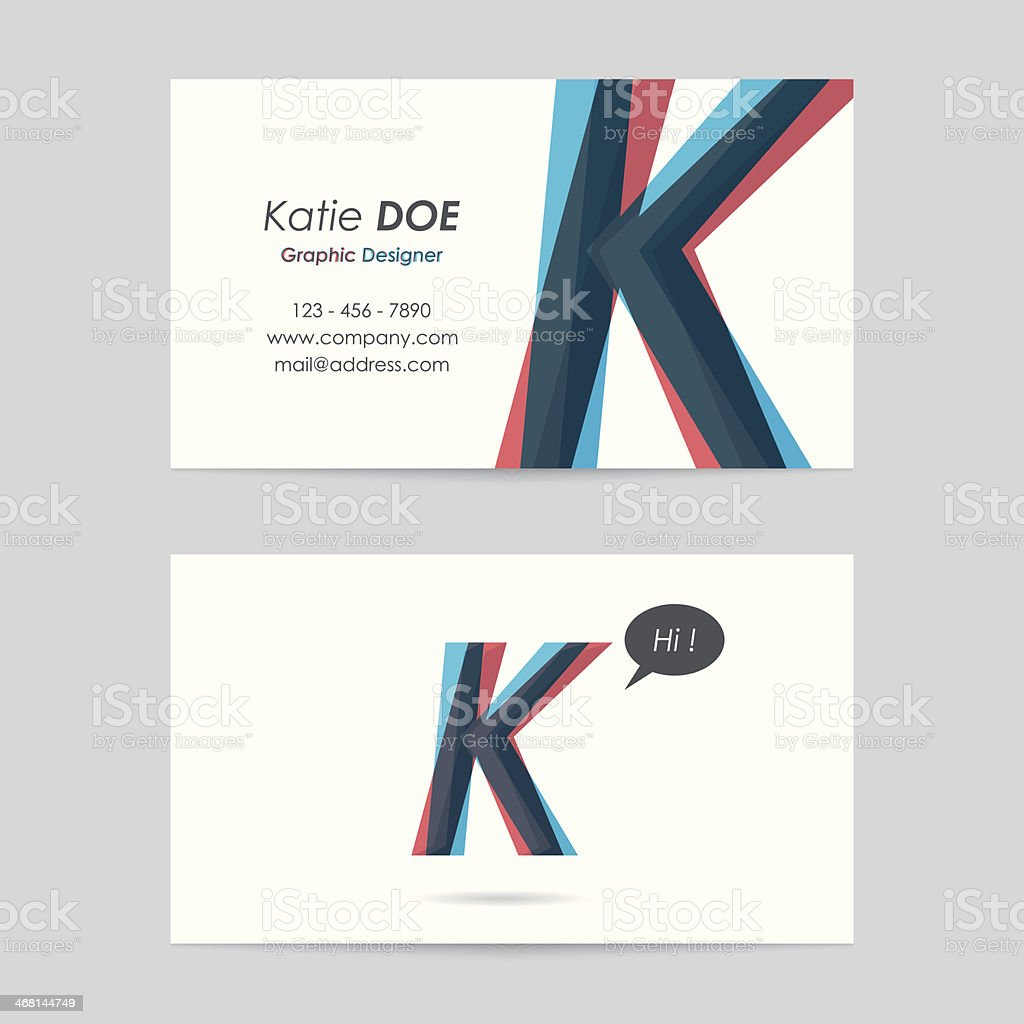 vector business card template - letter k vector art illustration