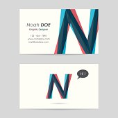 vector business card template - letter n
