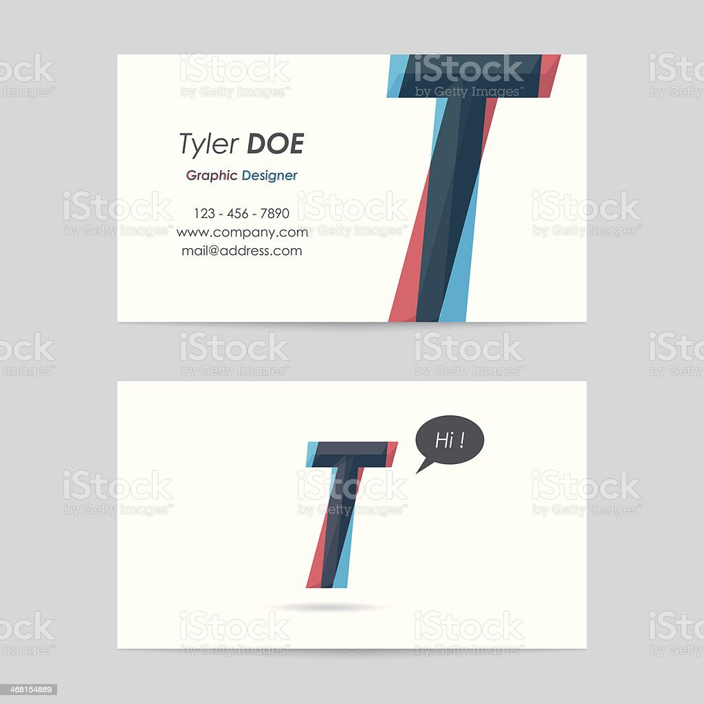 vector business card template - letter t vector art illustration