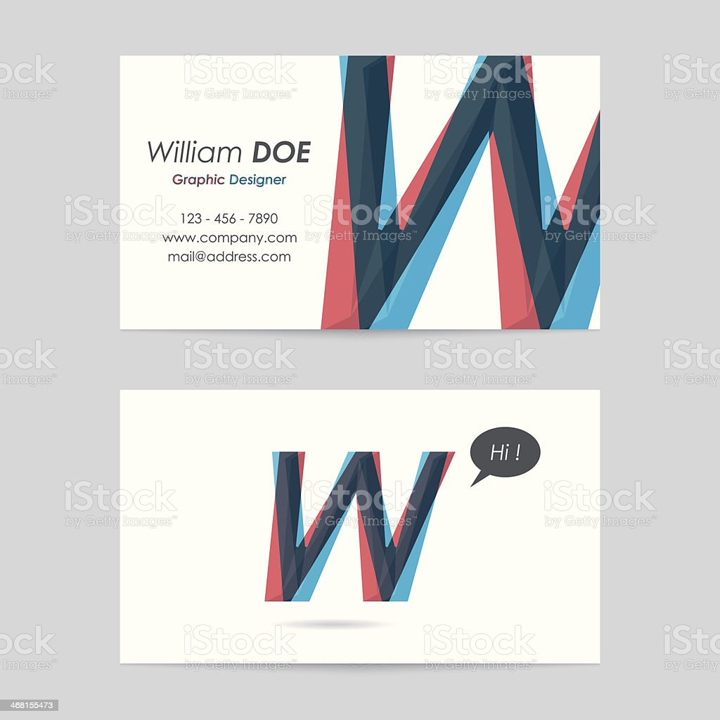 vector business card template - letter w royalty-free stock vector art