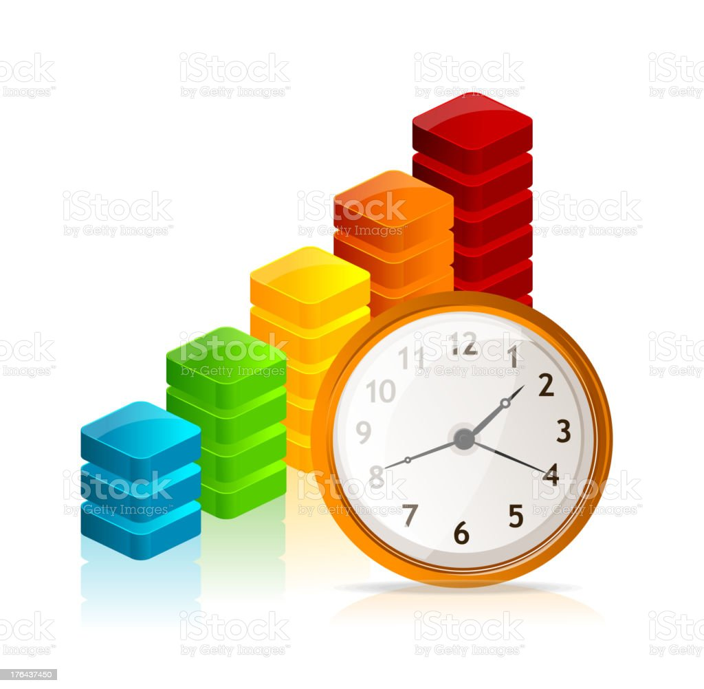 Vector Business graph and clock royalty-free stock vector art