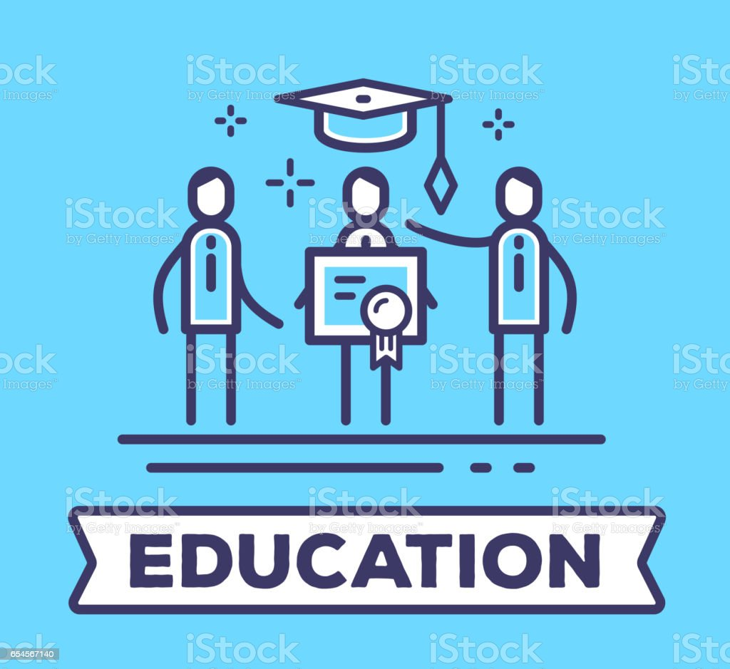 Vector business illustration of men in suits standing together and holding a diploma on blue background with a graduation cap. vector art illustration
