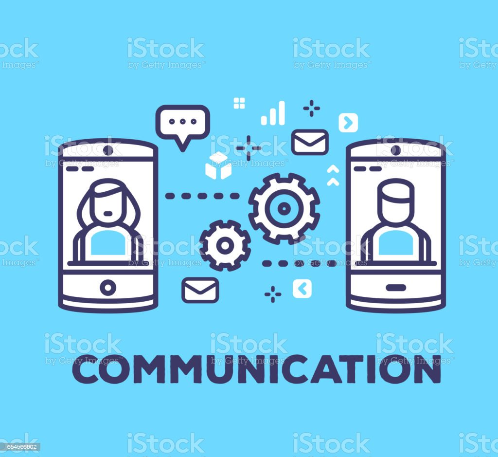 Vector business illustration of mobile phones sending sms, mail, chatting on blue background with icons. vector art illustration