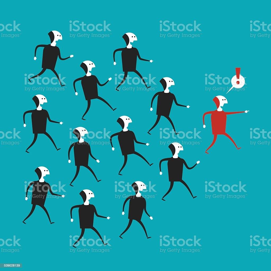Vector business leadership concept in flat cartoon style vector art illustration