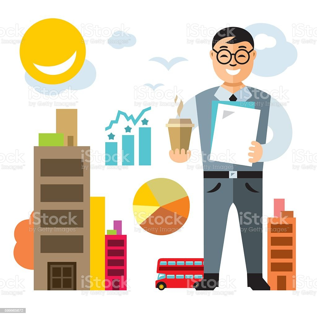 Vector Business man with coffee. Flat style colorful Cartoon illustration. vector art illustration