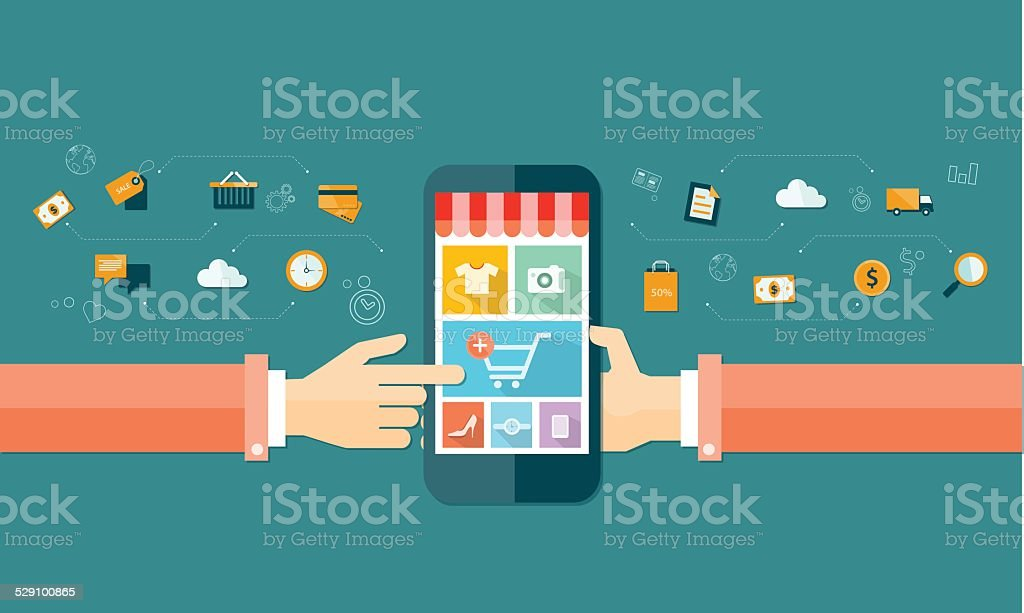 vector business mobile online shopping and e-marketing vector art illustration