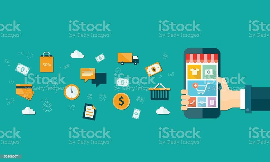 vector business mobile online shopping on mobile device vector art illustration