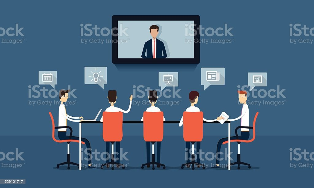 vector business online conference and meeting brainstorm vector art illustration