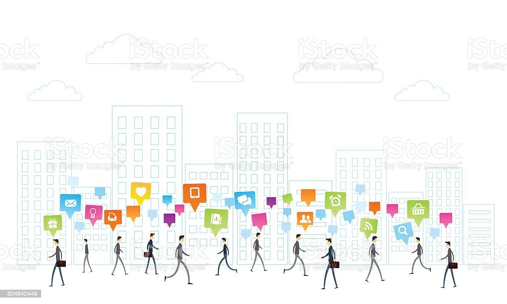 Vector business People communication on white city background vector art illustration