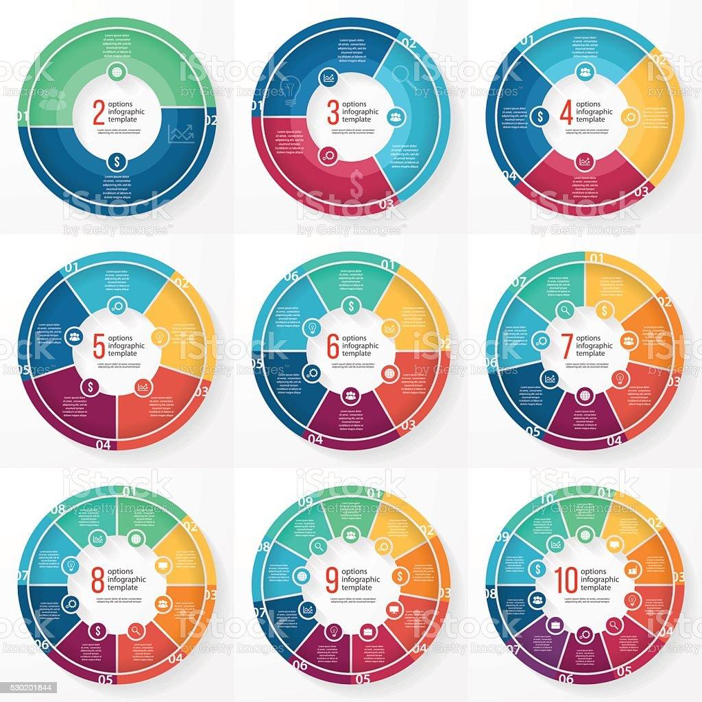 Vector business pie chart circle infographic set vector art illustration