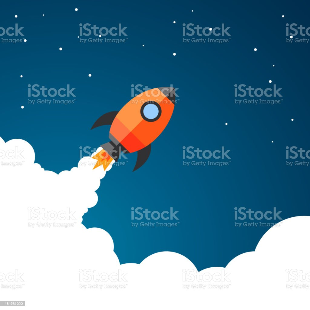 Vector Business Start-Up Rocket Space Exploration vector art illustration