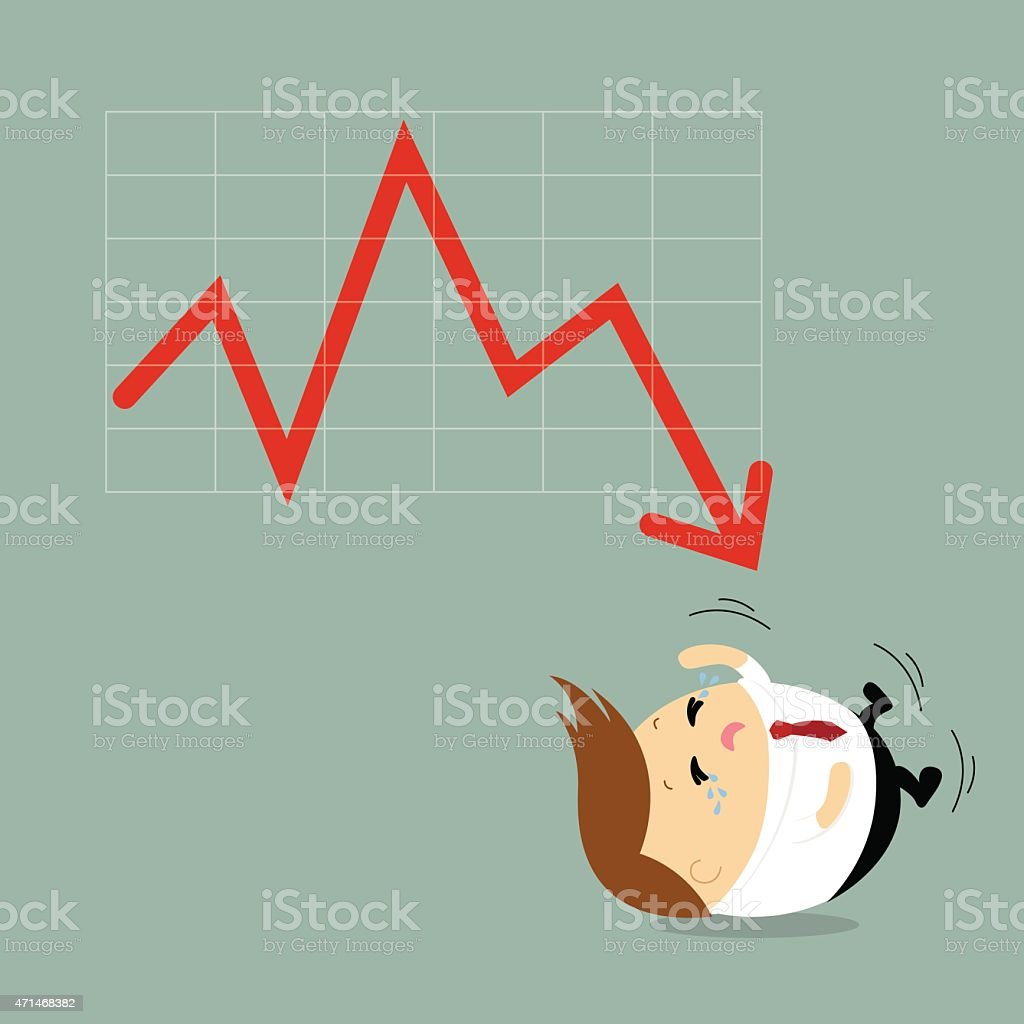 Vector businessman crying with business graph down, negative trend, failure vector art illustration