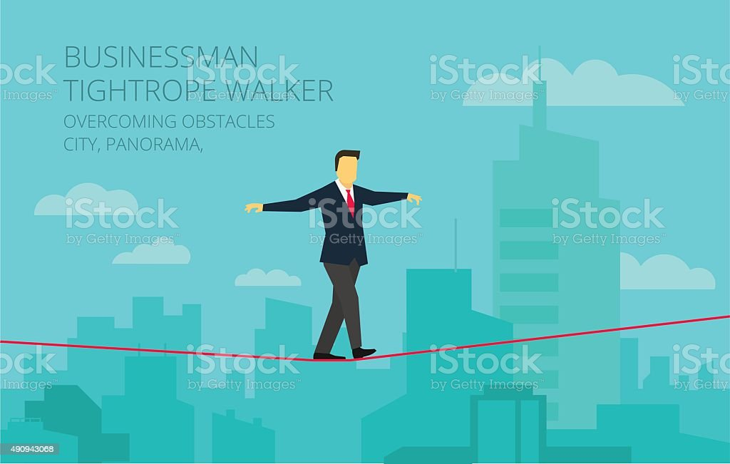 Vector businessman walking tightrope against the background panorama city vector art illustration