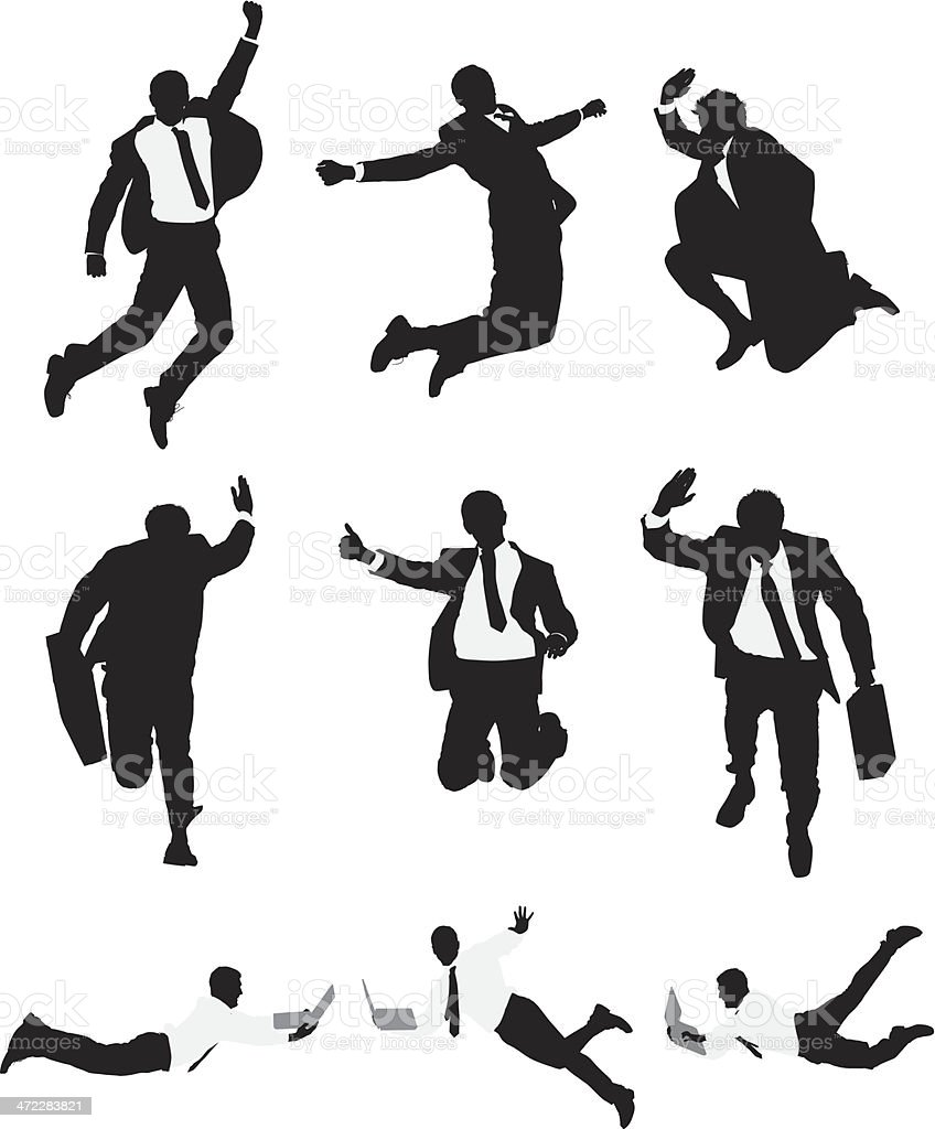 Vector businessmen leaping through the air royalty-free stock vector art