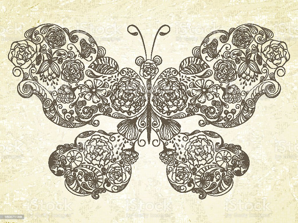Vector butterfly made of flowers royalty-free stock photo