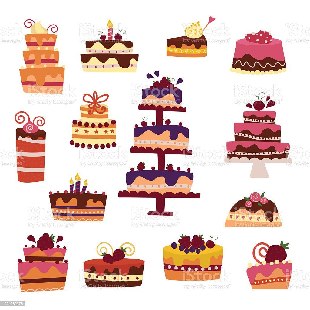 Vector cake collection isolated on white background vector art illustration