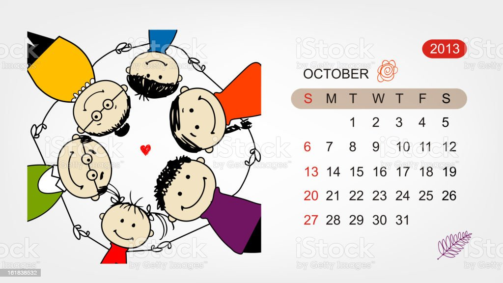Vector calendar 2013. Family illustration for your design royalty-free stock vector art