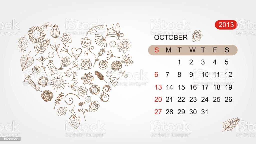 Vector calendar 2013, october. Art heart design royalty-free stock vector art