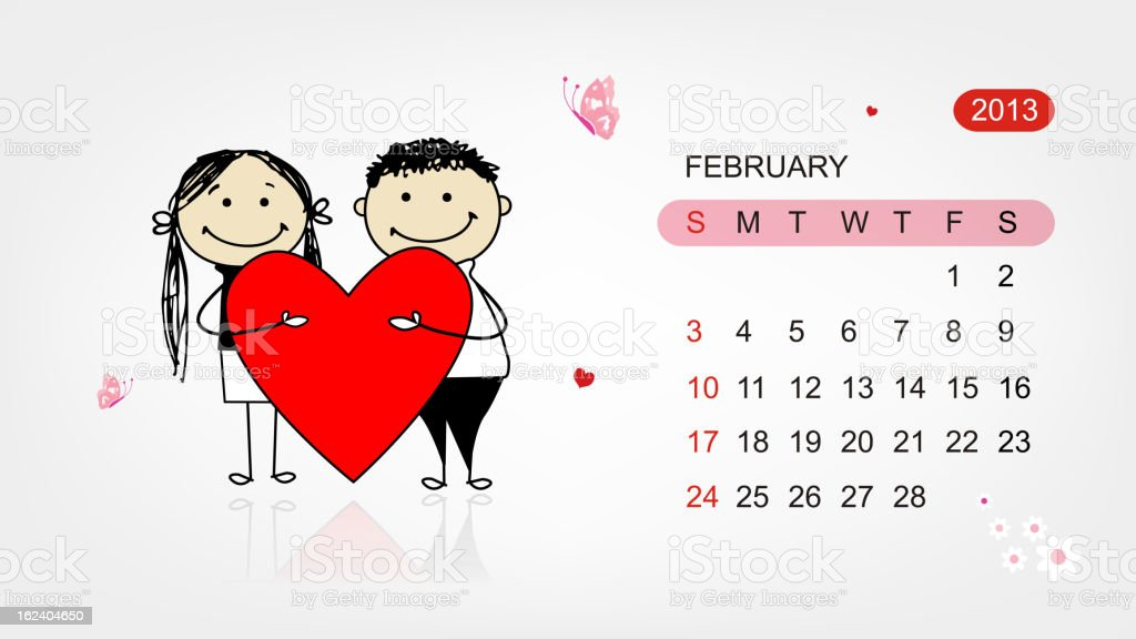 Vector calendar 2013. Valentine day for your design royalty-free stock vector art