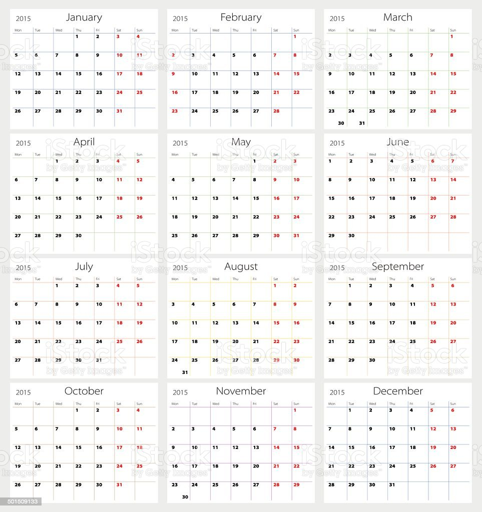 Vector calendar 2015 vector art illustration