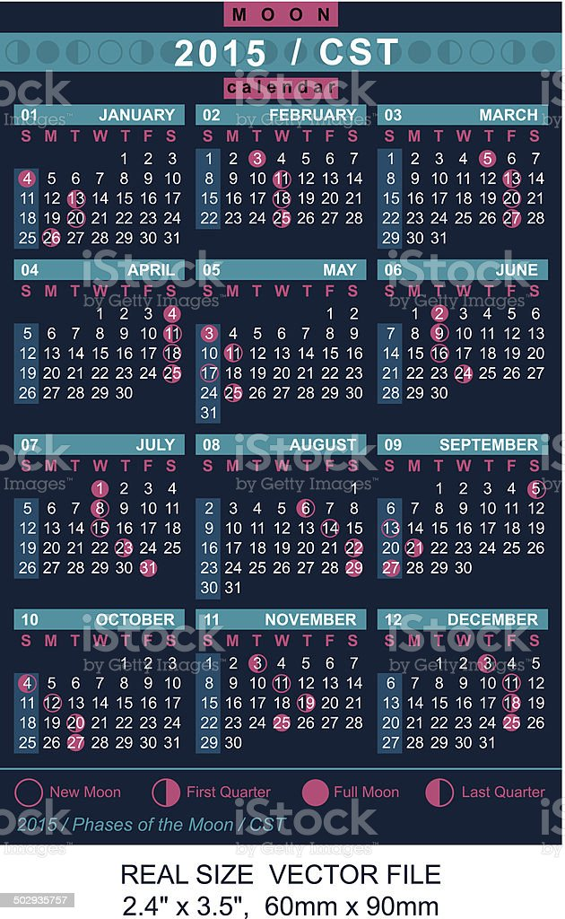vector calendar 2015 with Phases of the moon/ CST royalty-free stock vector art