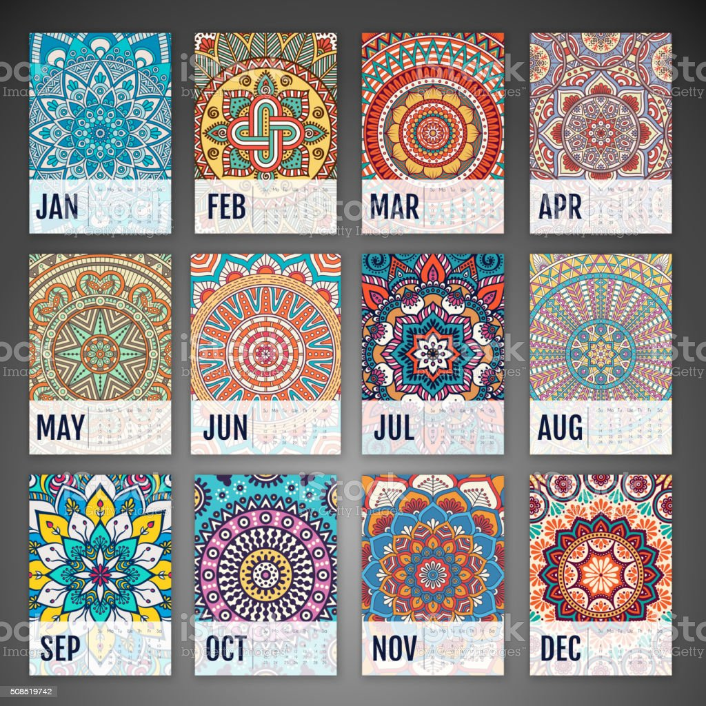 Vector Calendar 2016 vector art illustration