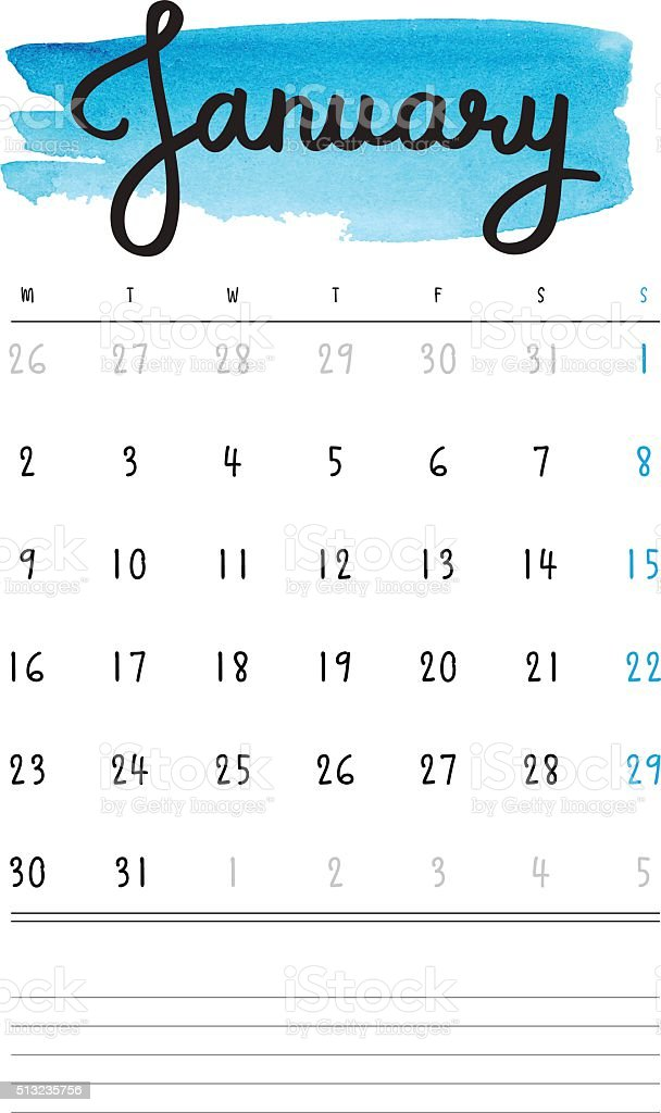 Vector calendar 2017 template with blue watercolor stain vector art illustration