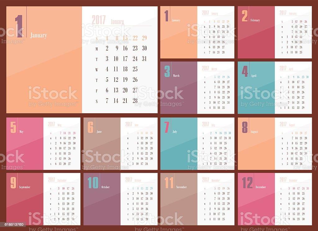 Vector Calendar 2017 year. Week Starts Sunday vector art illustration