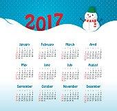 Vector Calendar 2017 year. Week Starts Sunday