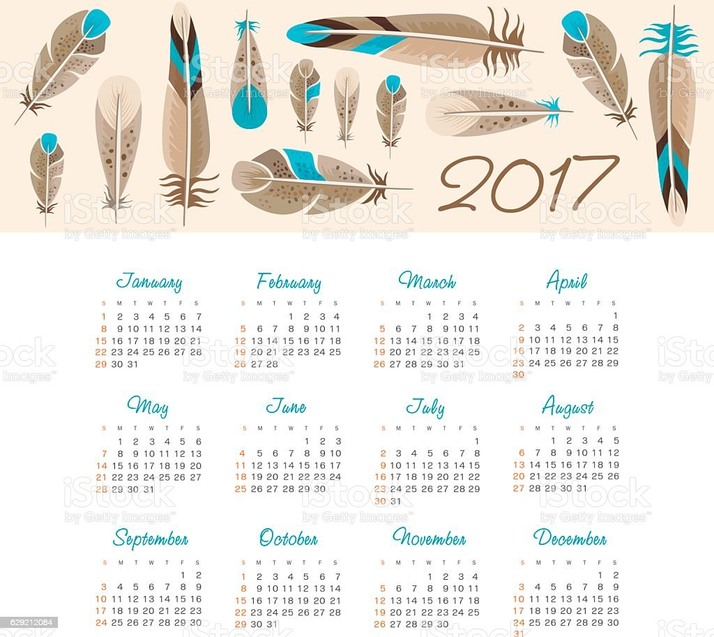 Vector Calendar 2017 year with feathers vector art illustration