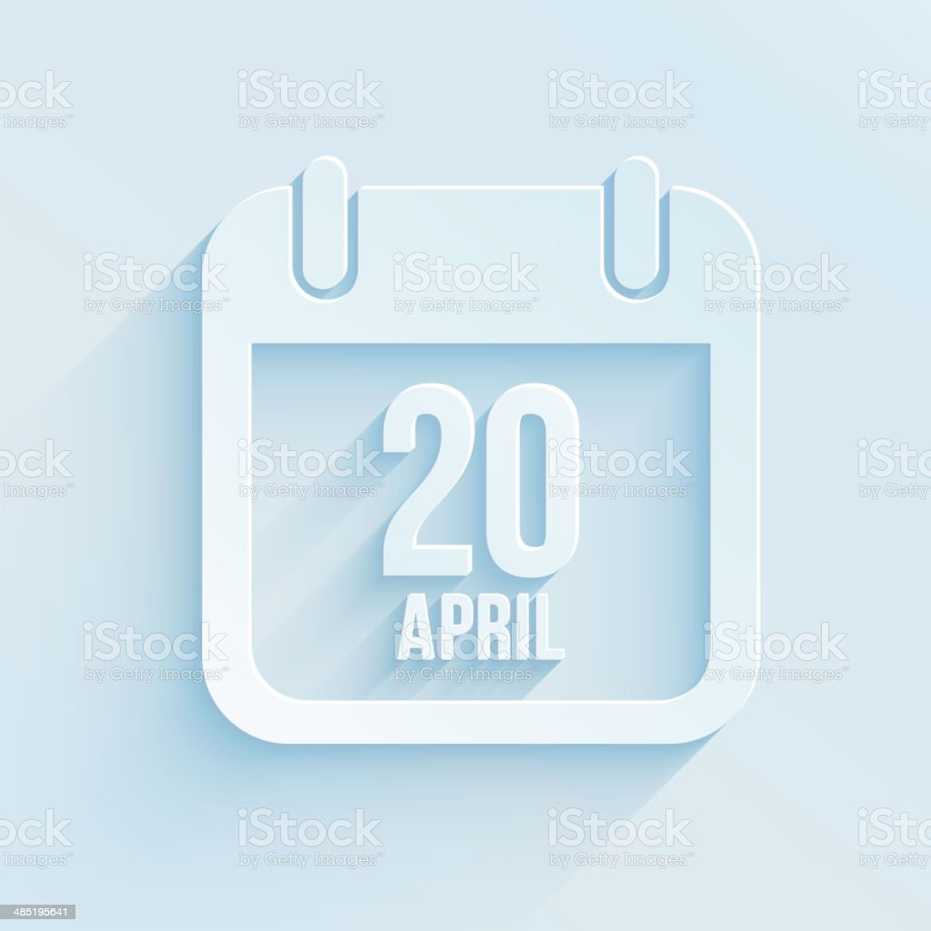 Vector calendar apps icon. 20 april 2014 Easter day royalty-free stock vector art