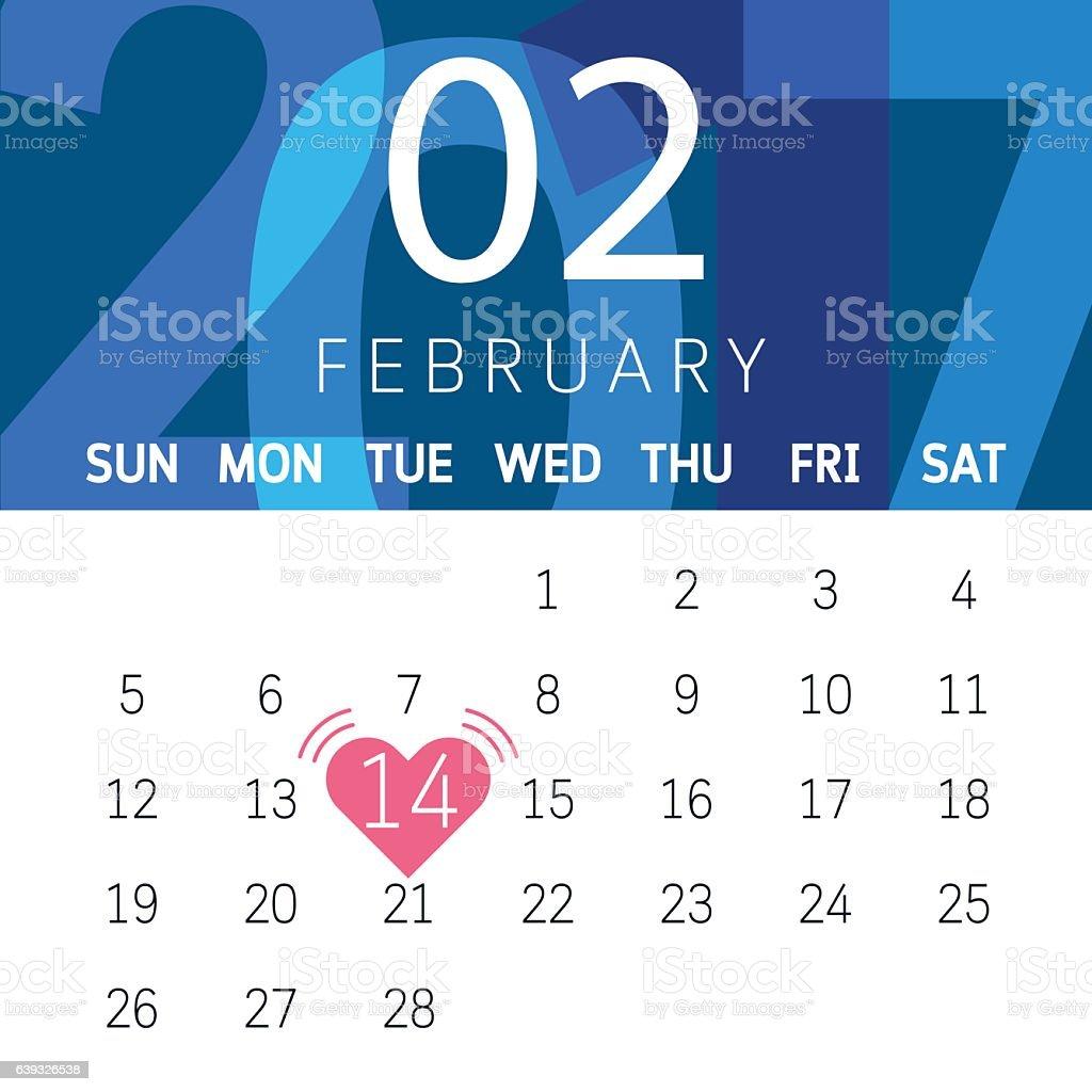 Vector Calendar February 2017 Of Valentines Day stock vector art ...
