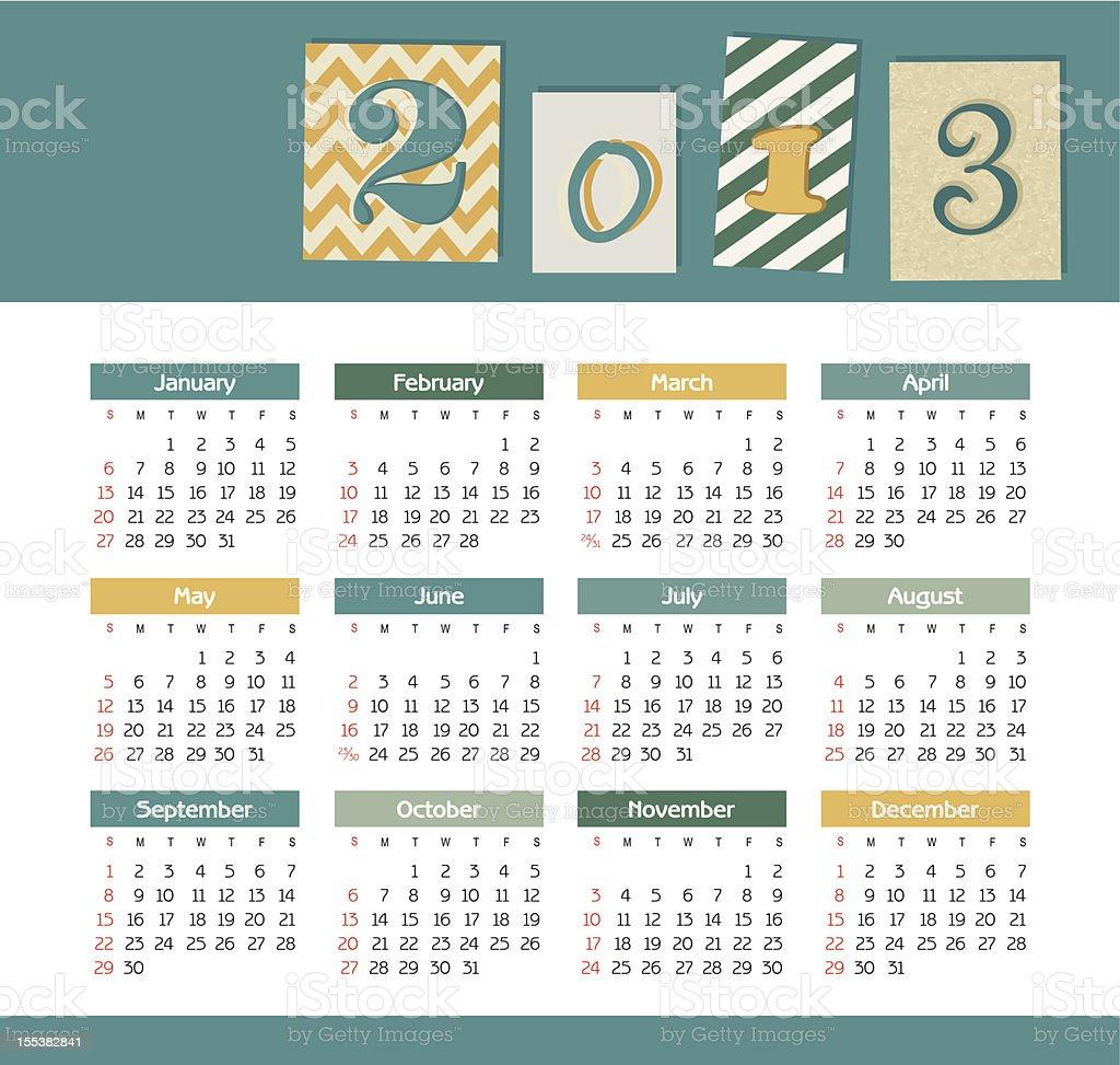 Vector calendar for 2013 royalty-free stock vector art