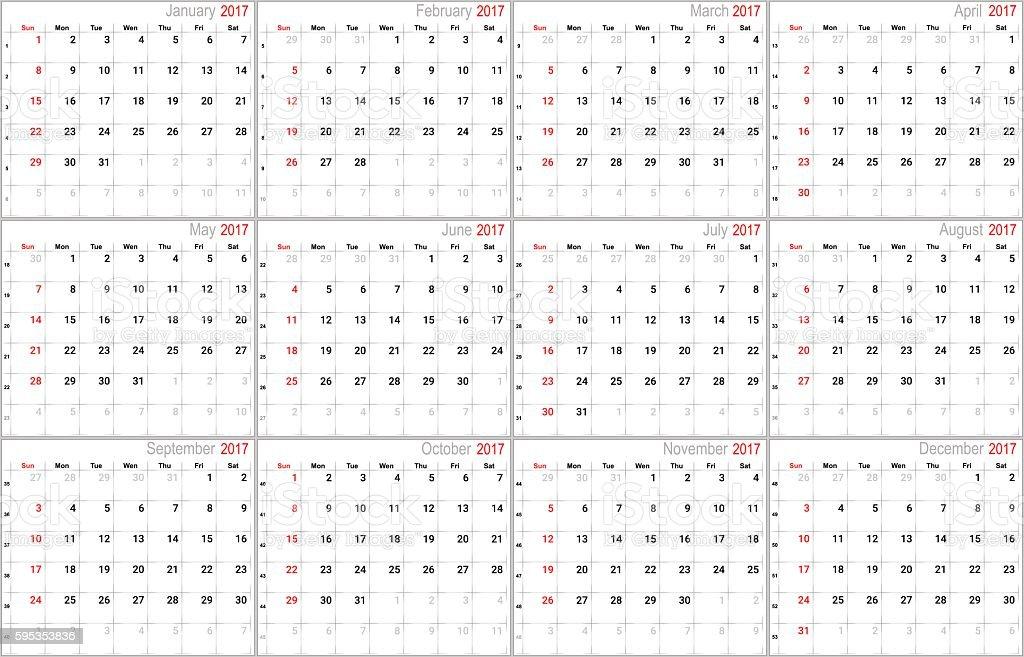 Vector calendar for 2017 vector art illustration