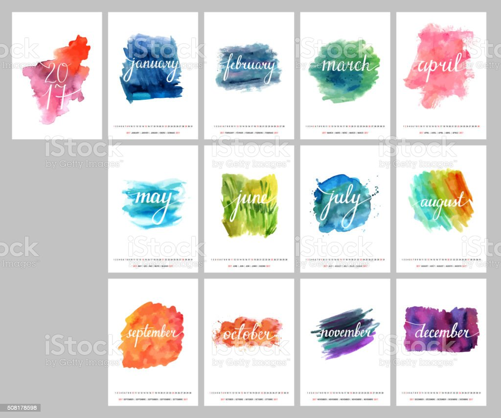 Vector calendar for year 2017 with lettering and watercolor textures vector art illustration