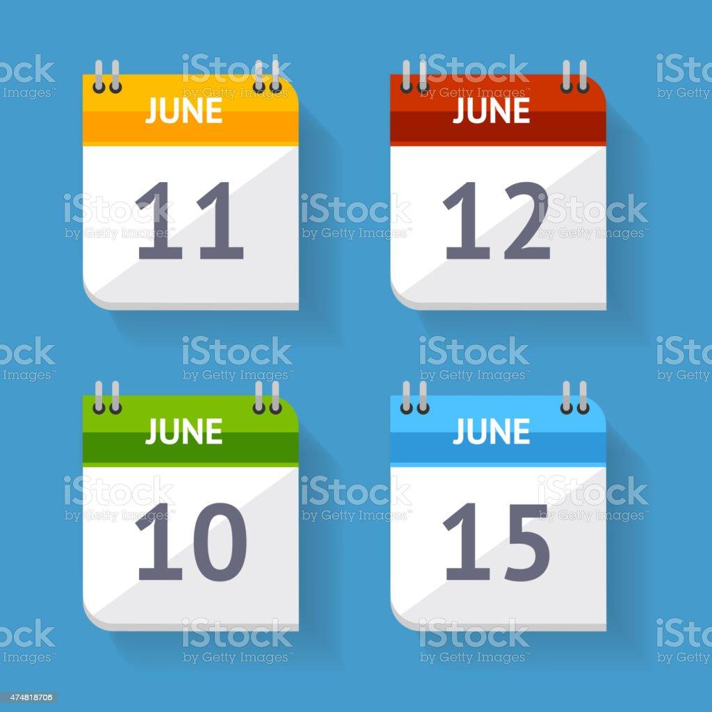 Vector Calendar Icon Set Flat Design vector art illustration