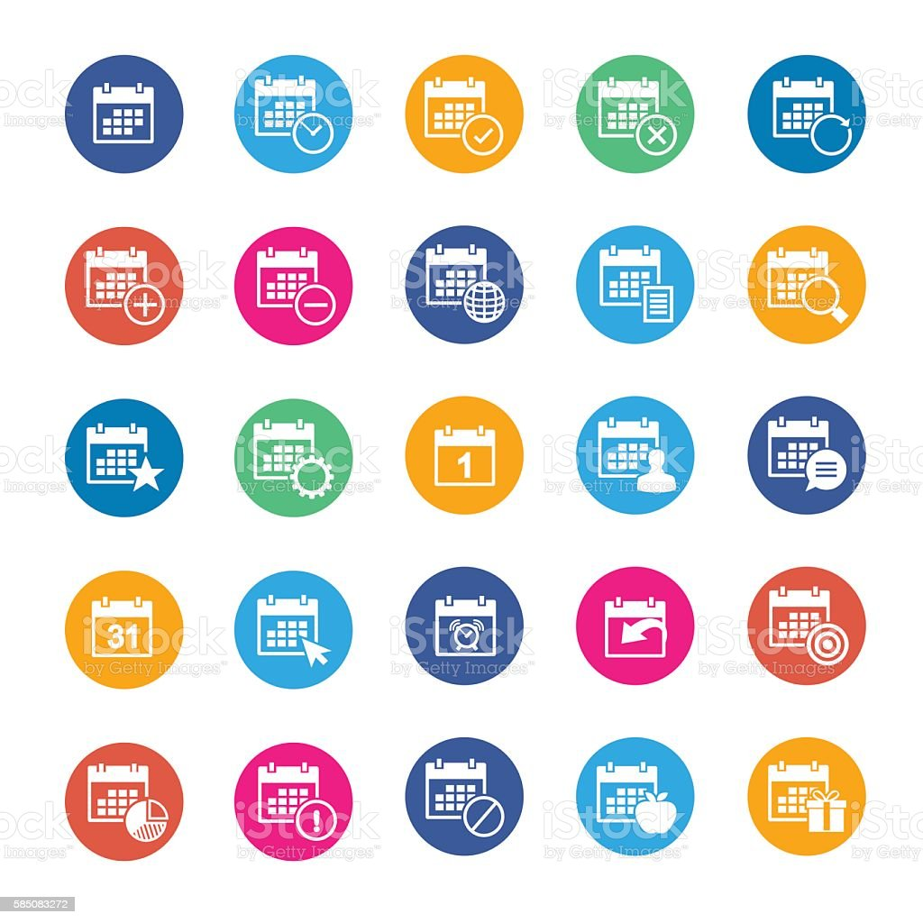 Vector calendar icon set vector art illustration