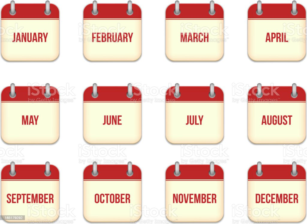 Vector calendar icons for each month royalty-free stock vector art