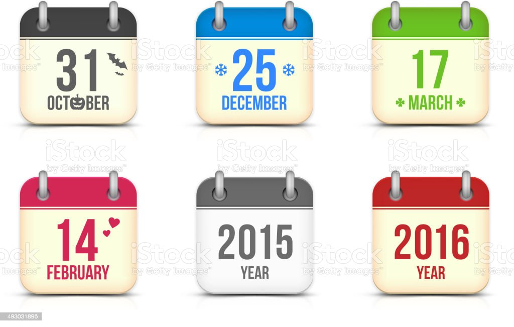 Vector calendar icons set for holidays vector art illustration