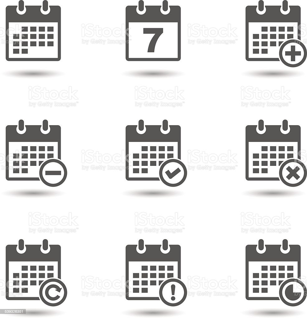 Vector calendar icons set vector art illustration