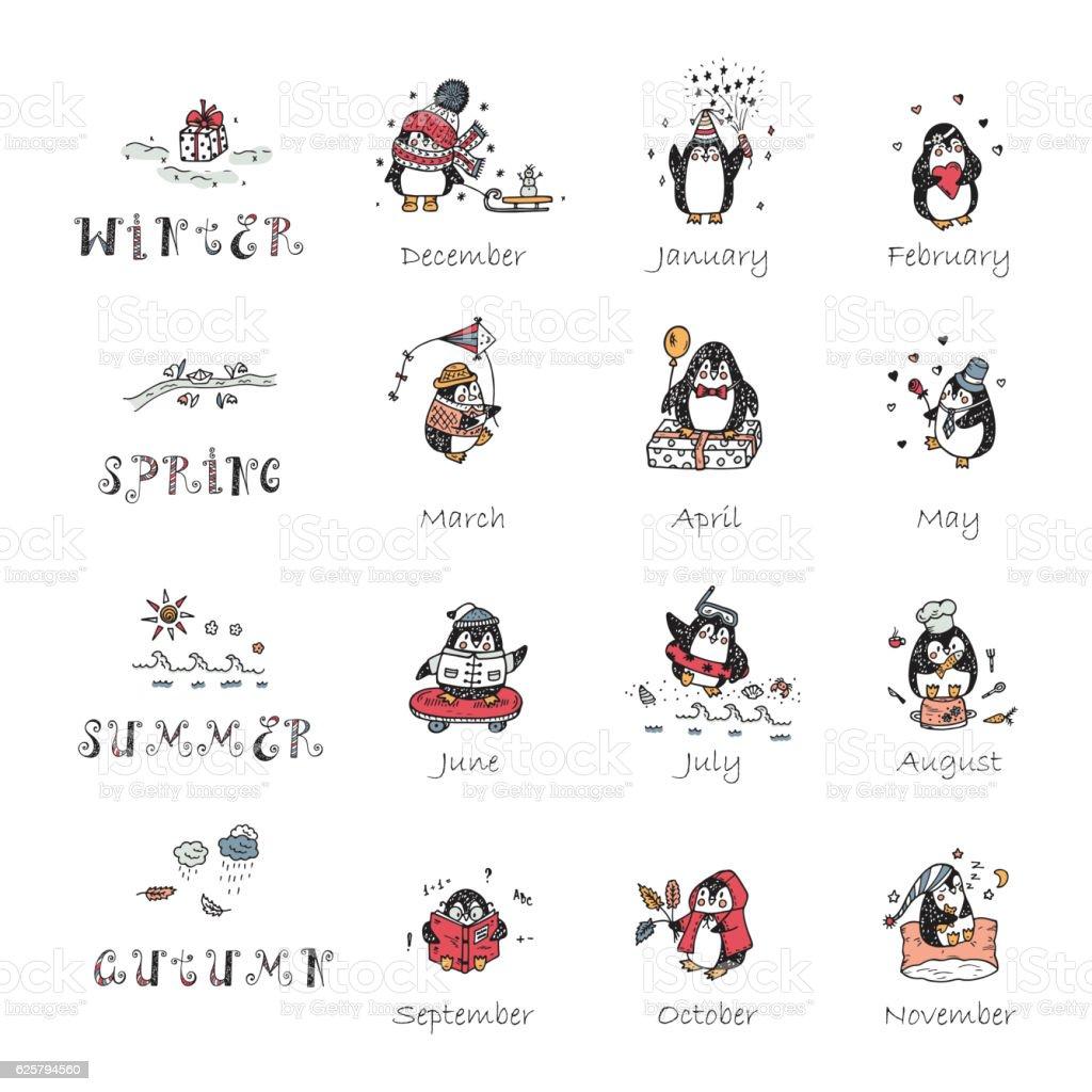 Vector Calendar template with Hand Drawn Doodle Cute Penguins vector art illustration