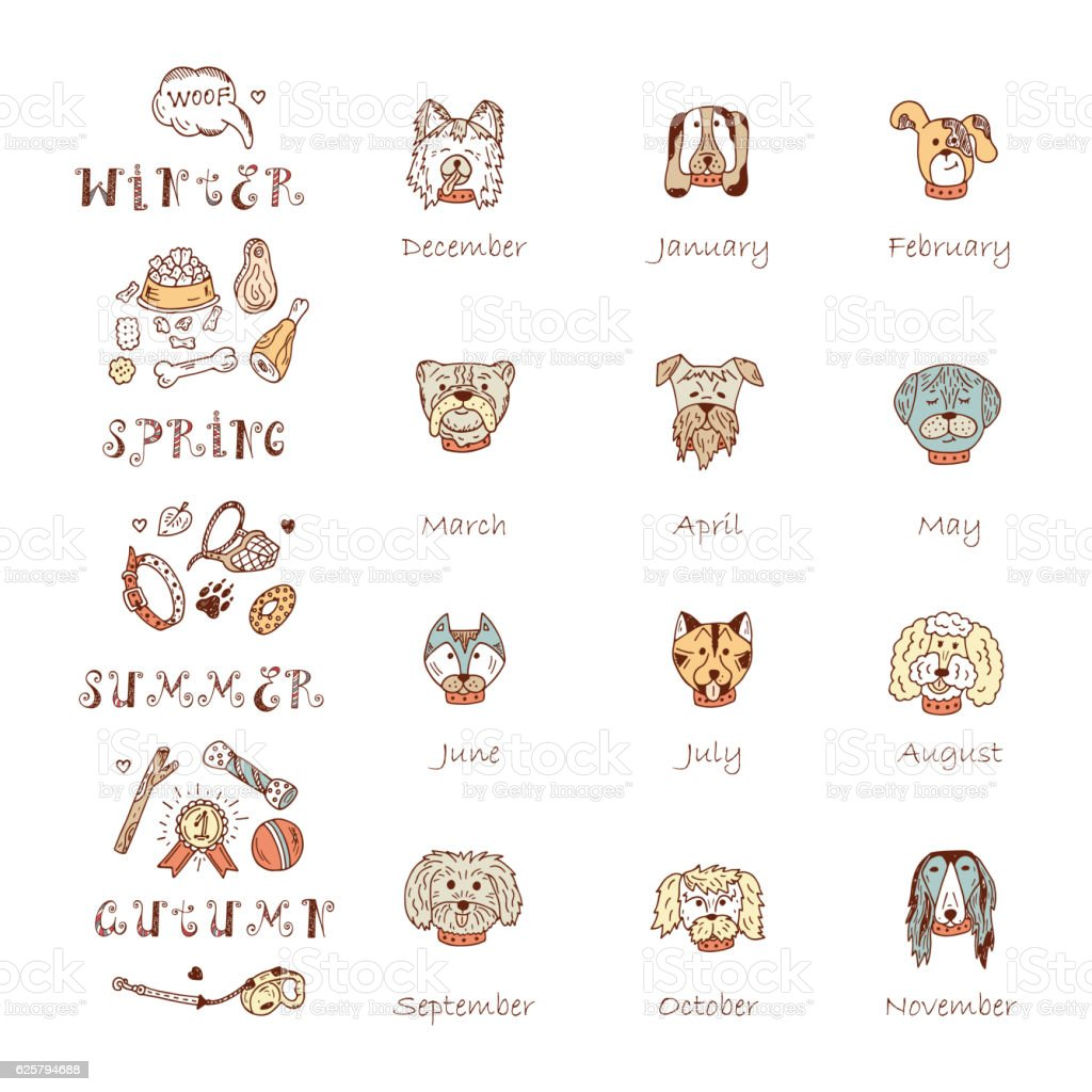 Vector Calendar templatewith Hand Drawn Doodle Dogs vector art illustration
