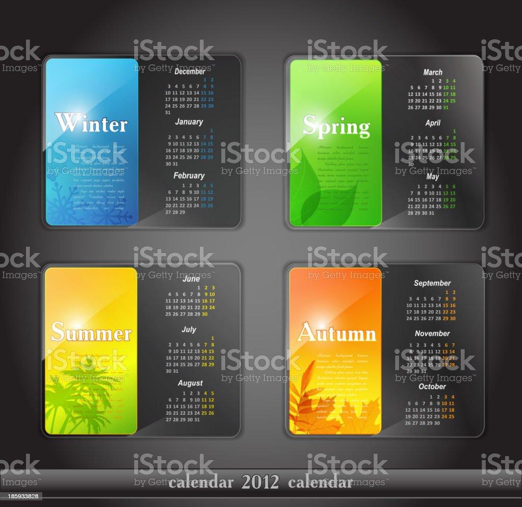 vector calendar, with four seasons royalty-free stock vector art