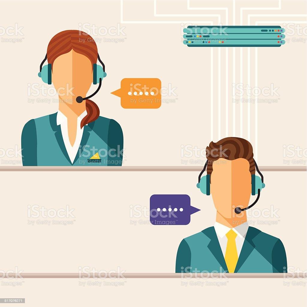 Vector call center concept vector art illustration