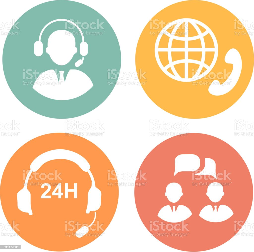 vector call center icons of operator and headset vector art illustration