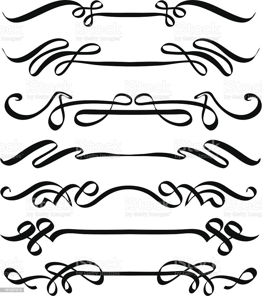 Vector calligraphic flourishes stock art