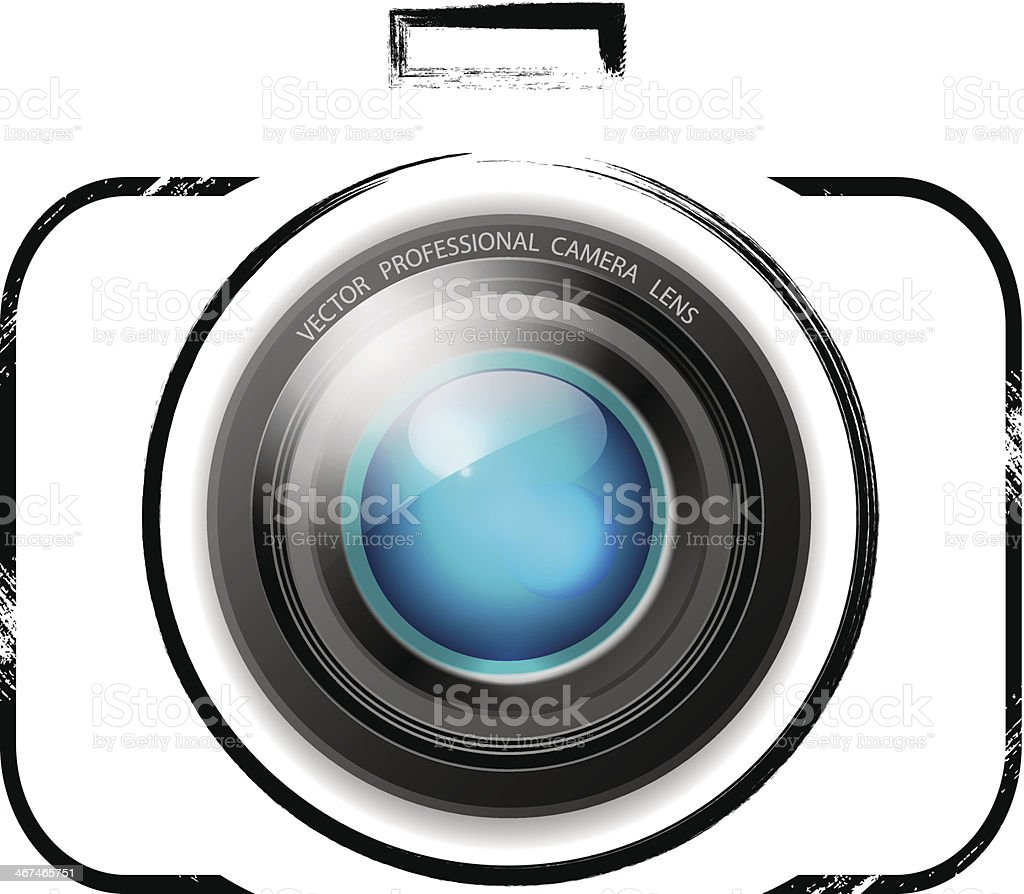 Vector camera icon on white background vector art illustration