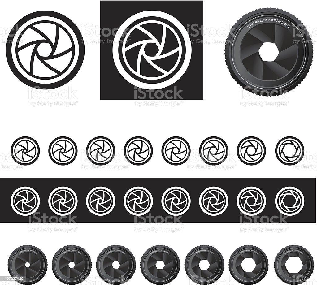Vector camera shutter apertures vector art illustration
