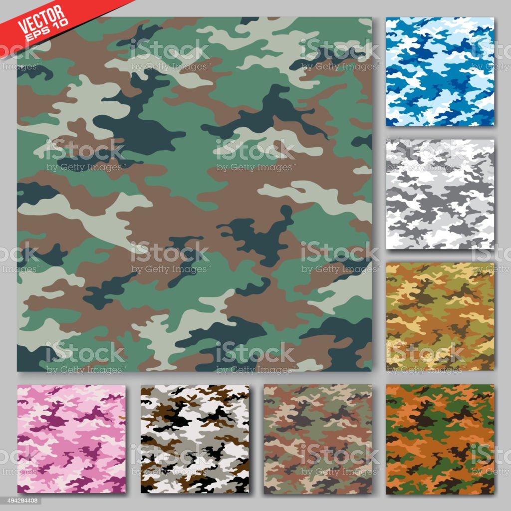 Vector camouflage set texture vector art illustration